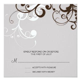 """flourish; tarjeta de contestación de plata invitación 5.25"""" x 5.25"""""""