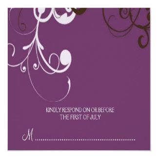 """flourish; tarjeta de contestación púrpura invitación 5.25"""" x 5.25"""""""