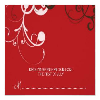 """flourish; tarjeta de contestación roja invitación 5.25"""" x 5.25"""""""