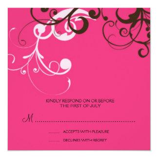 """flourish; tarjeta de contestación rosada invitación 5.25"""" x 5.25"""""""