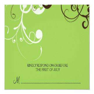 """flourish; tarjeta de contestación verde invitación 5.25"""" x 5.25"""""""