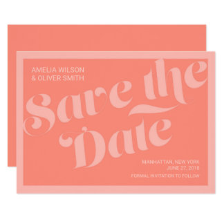 Flourish Typography Coral Salmon Save the Date Card