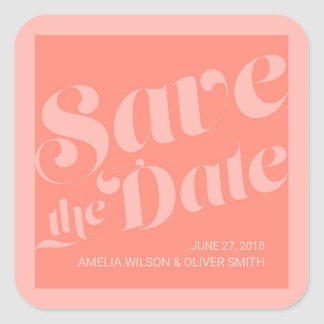 Flourish Typography Coral Salmon Save the Date Square Sticker