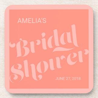 Flourish Typography Salmon Coral Bridal Shower Coaster