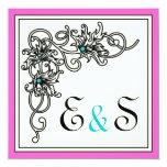 Flourish vine black pink turquoise wedding 5.25x5.25 square paper invitation card