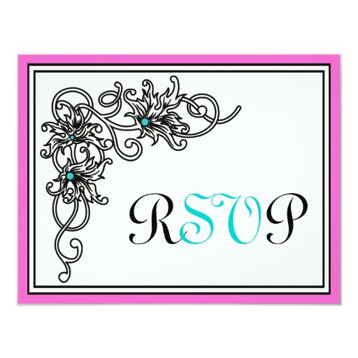 Flourish vine black pink turquoise wedding RSVP 4.25x5.5 Paper Invitation Card