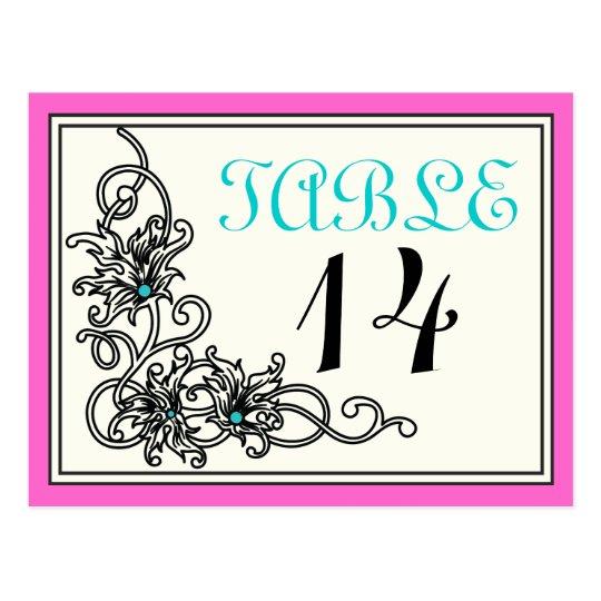 Flourish vine pink turquoise wedding table number postcard