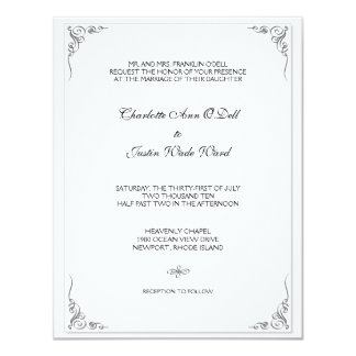 flourish white; wedding card