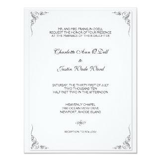 flourish white; wedding personalized invitation
