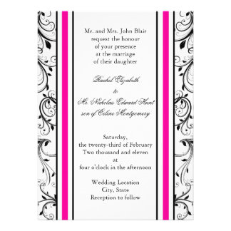 Flourish: White with Black and Pink Invitations