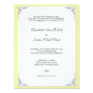 flourish yellow; wedding card