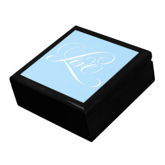Flourished Calligraphy Love Lettering Blue Jewelry Box