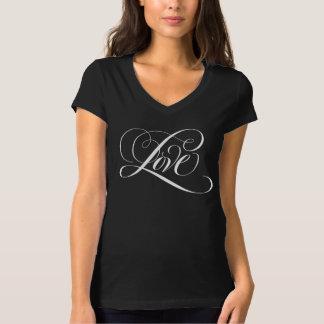 Flourished Love Script Calligraphy Black Valentine T-Shirt