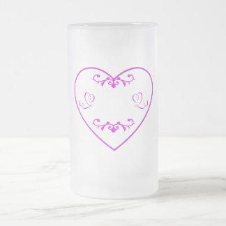 Flourished purple heart frosted glass beer mug