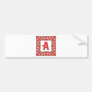 Flourished Red Framed Monogram A Bumper Sticker
