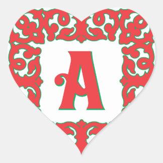 Flourished Red Framed Monogram A Heart Sticker