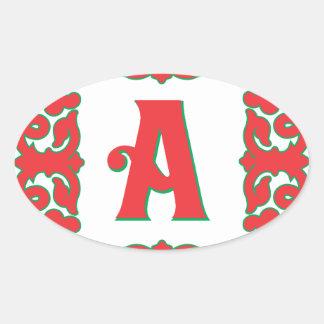 Flourished Red Framed Monogram A Oval Sticker