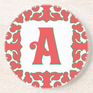 Flourished Red Framed Monogram A Sandstone Coaster
