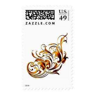 Flourishes decorativos antiguos sello postal