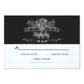 flourishes handwritten chalkboard wedding RSVP Card
