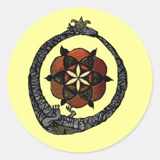 FlouroborosOfLife (Ouroboros & FlowerOfLife) Classic Round Sticker