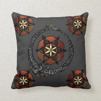 FlouroborosOfLife (Ouroboros & FlowerOfLife) Throw Pillows