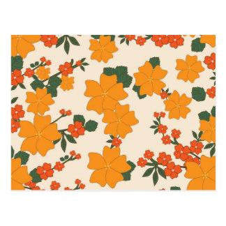 [FLOW-005] Retro orange flowers Postcard