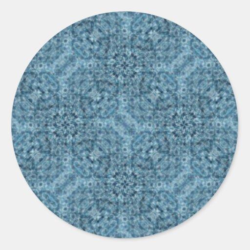 Flow Blue Kaleidoscope Round Stickers