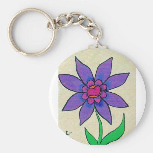 Flower14 Llavero Redondo Tipo Pin