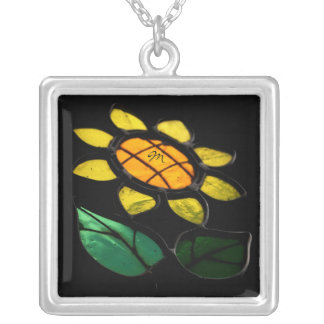 Flower 1- Stained Glass - Monogram Square Necklace