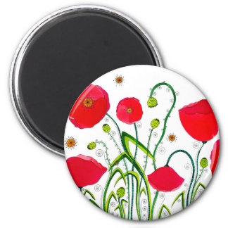 Flower#3 - Wild Red Poppies Magnets