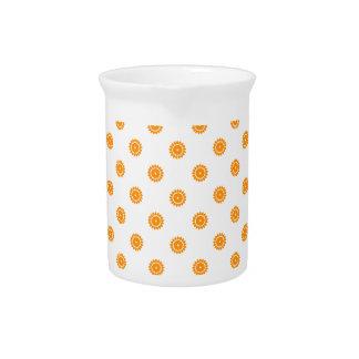 Flower 4 Pattern Orange Beverage Pitchers