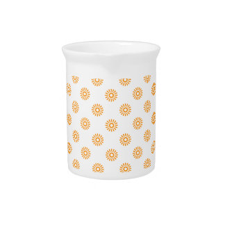 Flower 6 Pattern Orange Pitchers