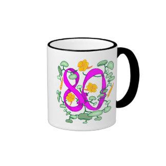 Flower 80th Birthday Gifts Ringer Coffee Mug