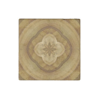 flower abstract circle wood pattern stone magnet