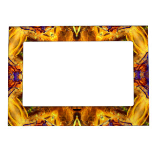 flower abstract design pattern yoga blue gold zen magnetic picture frame
