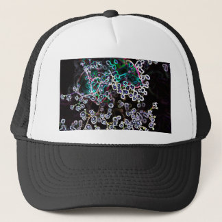 flower abstract glowing edges dark cool design trucker hat