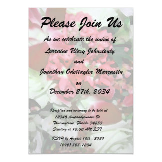 """flower abstract red white pretty floral design 5"""" x 7"""" invitation card"""