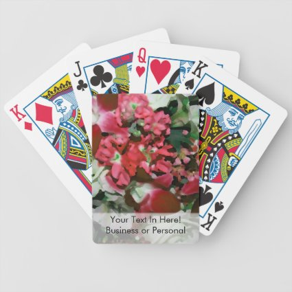 flower abstract red white pretty floral design card deck