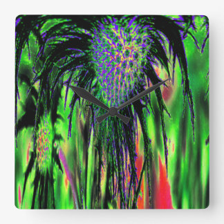 Flower Abstract Square Wall Clock