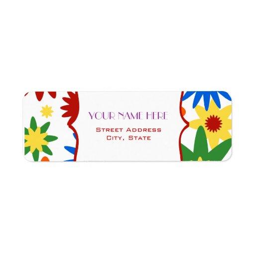 Flower Address Label - Bright Colors