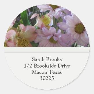 Flower Address Label Classic Round Sticker