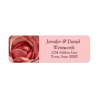 Flower Address Labels Pink Rose