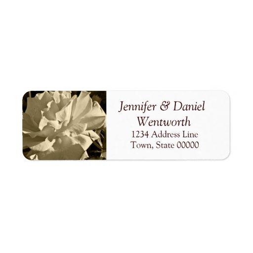 Flower Address Labels Sepia Rose
