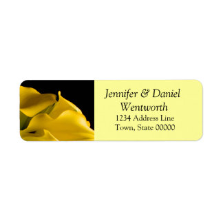Flower Address Labels Yellow Calla Lilies