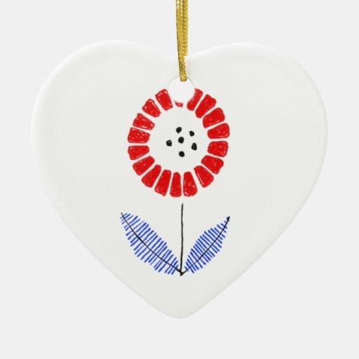 flower adorno navideño de cerámica en forma de corazón