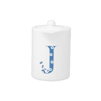 flower alphabet J (blue and dots) Teapot