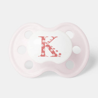 flower alphabet K (red and dots) BooginHead Pacifier