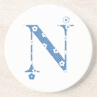 flower alphabet N (blue and dots) Coaster