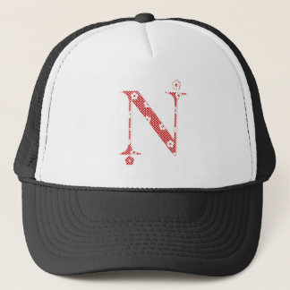 flower alphabet N (red and dots) Trucker Hat